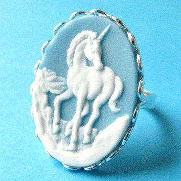 Magical Unicorn Cameo Ring  Light Blue Vintage by Tizzalicious