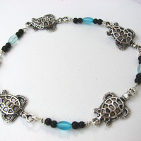 Beaded Sea Turtle Anklet ,Silver Aqua Blue Ankle Bracelet, Summer Beach Jewelry