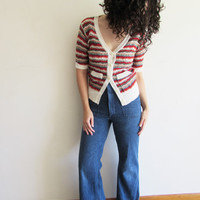 Vintage 70s Striped Preppy Hipster Open Knit Cardigan Sweater