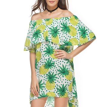 Fashion Polka Dots Pineapple Print Off Shoulder Short Sleeve Loose Frills Mini Dress