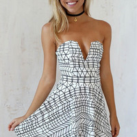 White Strapless Plaid Print Dress