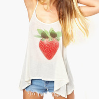 White Strawberry Print Asymmetrical Tank Top