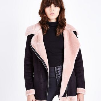 Black and Pink Faux Fur Trim Aviator jacket | New Look