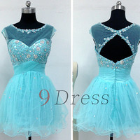 New Blue beaded shiny Short Prom Dress Bridesmaid party wedding Dress Gown Homecoming Dress Holida Formal Dress gown Graduation dresses