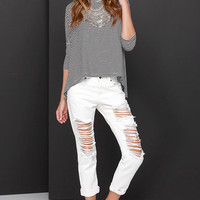 Caught in the Riptide Distressed Off-White Jeans