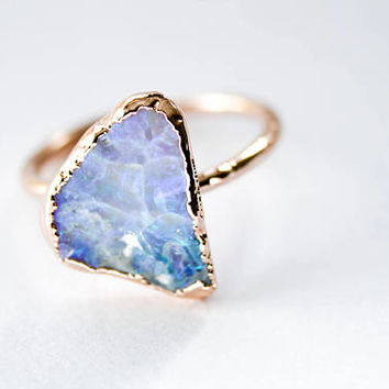 Rose Gold Opal Ring, Luxury Wedding Ring, Diamond Alternative Ring, Custom Opal Ring, Opal Engagement Ring, Unique Woman's Engagement Ring
