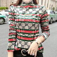 GUCCI Fashionable Women Casual Print Stripe Long Sleeve High Collar Pleuche Sweater Top