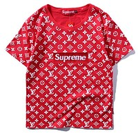 Supreme x LV Fashion Print Logo Short Sleeve Tunic Shirt Top Blouse