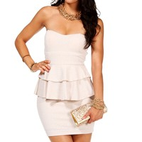 WhiteIvory Strapless Peplum Dress