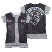 SONS OF ANARCHY UNHOLY COSTUME Cap Sleeve Juniors 2 sided 100% Polyester T-Shirt