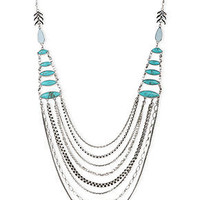 Lucky Brand Necklace, Silver-Tone Turquoise Stone Layered Statement Necklace - Fashion Necklaces - Jewelry & Watches - Macy's