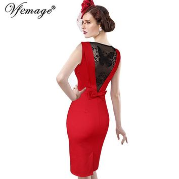 Vfemage Women Sexy Elegant See Through Back Bow Butterfly Lace Party Evening Special Occasion Pencil Vestidos Bodycon Dress 4077