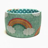 Rainbow Print Bangle Bracelets, Bracelet featuring Rainbows and Clouds
