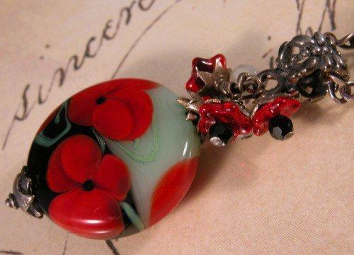 Red Poppy Lampwork serpentine and sterling silver necklace | cserpent - Jewelry on ArtFire