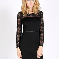 Long Sleeve Lace Mini Bodycon Dress