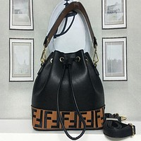 FENDI Women Fashion Leather Shoulder Bag Bucket Bag Satchel Handbag