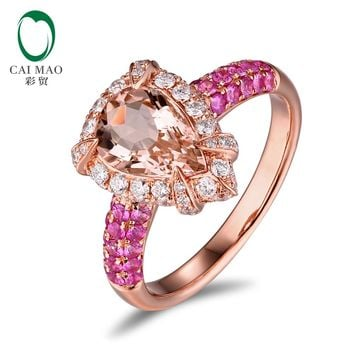 14KT Rose Gold 1.79ct Natural Peach Morganite 1.13ctw Diamonds & Pink Sapphires