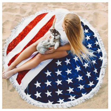 """Fun in the Sun"" Fringe Trim American Flag Round Beach Towel"
