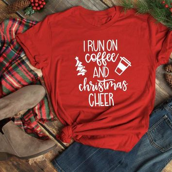I Run On Coffee and Christmas Cheer t-shirt gift slogan graphic fashion creative street style casual shirt aesthetic unisex tees