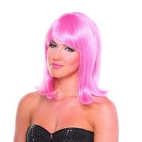 Pink Solid Color Doll Bangs Wig