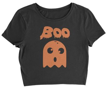 BOO Funny Ghost Halloween  Cropped T-Shirt