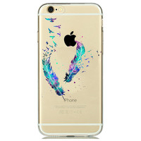 New Feather Bird Watercolor Silicone Case for iPhone 7 7plus 6 6S plus 5 5SE