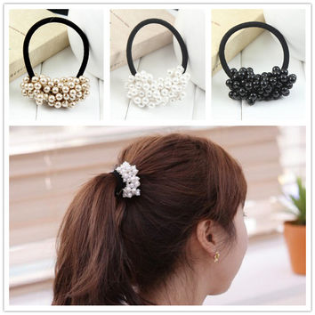 2017 Fashion faux pearl elastic hair rubber band hair accessories for women girls Ponytail Holder hair ties headdress headbands