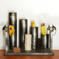 Vintage Metal Sculpture / Industrial Office and Home Storage / Midcentury Modern Desk Decor