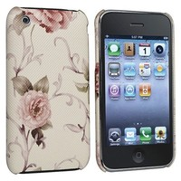 eForCity Snap-on Case compatible with Apple iPhone 3G / 3GS, Embroidered Flower Rear-White/Pink