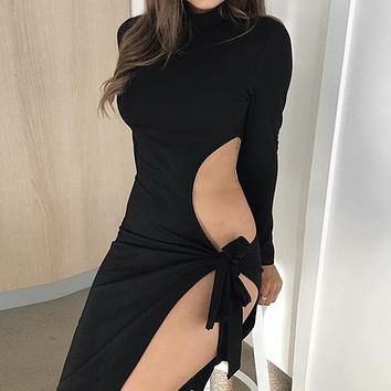 New long-sleeved high-collar sexy dress with open waist and strap Black