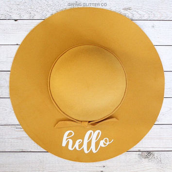 Hello // Floppy Hat - Custom Hat - Cute Hat - Yellow Hat
