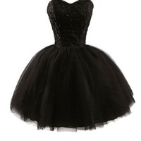 Women's Sweetheart Tulle Short Homecoming Party Dresses S Black