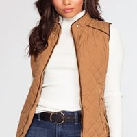 Vail Camel Quilted Vest