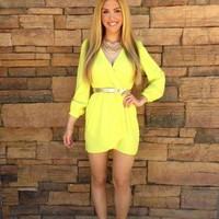 Yellow Long Sleeve Wrap Dress