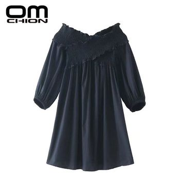 New Spring Autumn Dress Solid Strapless Dress Women Cross V Neck Long Sleeve Sexy Dresses