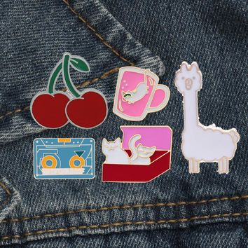 Lovely Cartoon Brooches Ship Cat Tape Cup Cherry 5 Style enamel pins shirt brooch pin collar Denim Accessories Jewelry For Women