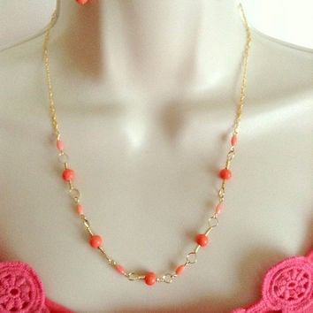14K Gold Necklace and Earring set with Peach Coral beads, Minimalist necklace, Beaded necklace, Healing necklace, Gift for her