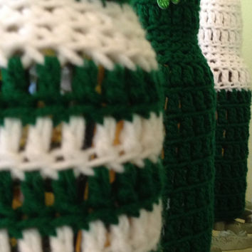 St. Patrick's Day Beer Koozie, Party Favors, Crocheted Beer or Soda Bottle Koozie, Ugly Sweater, Made to Order for Your Party
