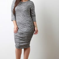 Marled Knit Ruched Quarter Sleeves Bodycon Midi Dress
