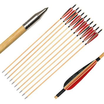 6PK/12PK/24PK Handmade cedar wooden arrows for Archery Hunting  wood arrow hunting arrows 28INCH-33INCH For Hunting