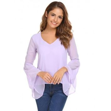 Light Purple Solid Loose V-neck Long Bell Sleeves Chiffon Blouse