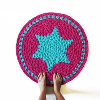 Round Crochet Mandala Rug - Blue Star in Pink Colorful Rug Mat