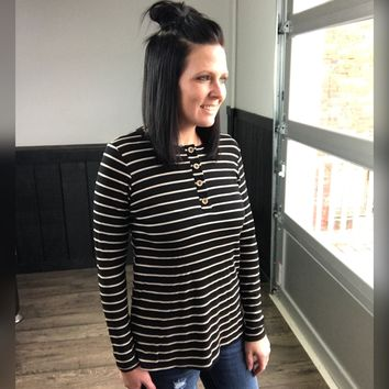 Striped Henley Long Sleeve Top