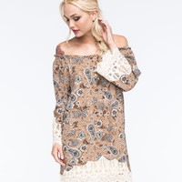 Blu Pepper Paisley Off The Shoulder Dress Brown Combo  In Sizes