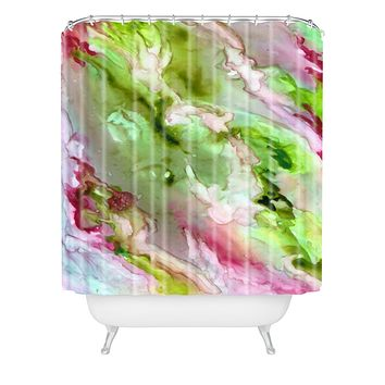 Rosie Brown Magenta Ribbons Shower Curtain