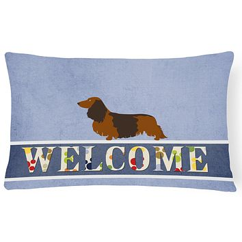 Longhaired Dachshund Welcome Canvas Fabric Decorative Pillow BB8287PW1216