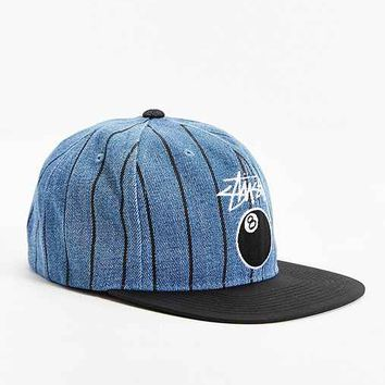 Stussy 8-Ball Pinstripe Denim Snapback Hat- Indigo One