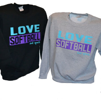 Love Softball - Purple and Turquoise - Crew Neck Sweatshirt