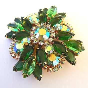 JULIANA Light Dark Green Rhinestone Brooch Pendant Aurora Borealis, Layered Tier Gold Plate Vintage