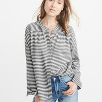 Womens Banded Collar Flannel Shirt | Womens Tops | Abercrombie.com